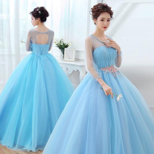 Vestido de xv azul cielo