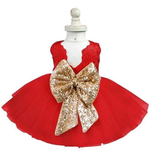 Vestido Rojo De Gala Para Niña Moño Dorado Bordado Hermoso