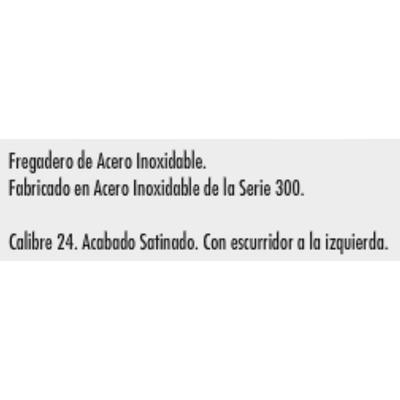 Fregadero 1 metro x 54 cm acero inoxidable izquierdo for Fregadero 80x50