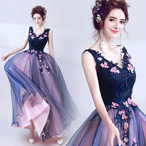 Vestido De Xv Años 15 Dulces 16 Flores Bordado Rosas Azul En