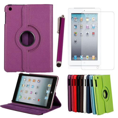 Kit Funda Giratoria 360° Para Ipad Mini + Mica + Stylus Sp0
