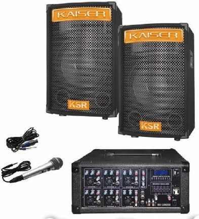 Kit Mezcladora Amplificada 6ch Usb Display 2 Bafles 15