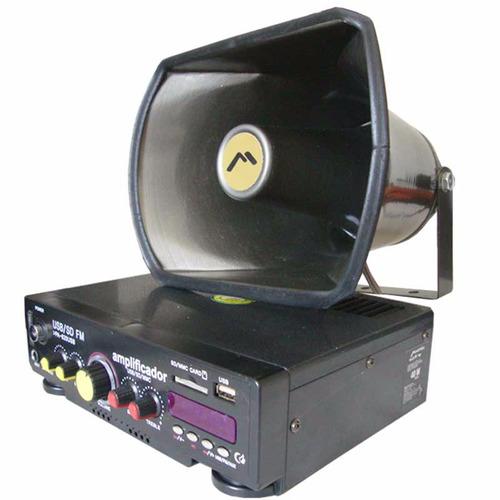 Kit Paquete Perifoneo Voceo Amplificador Usb/sd Fm Trompeta