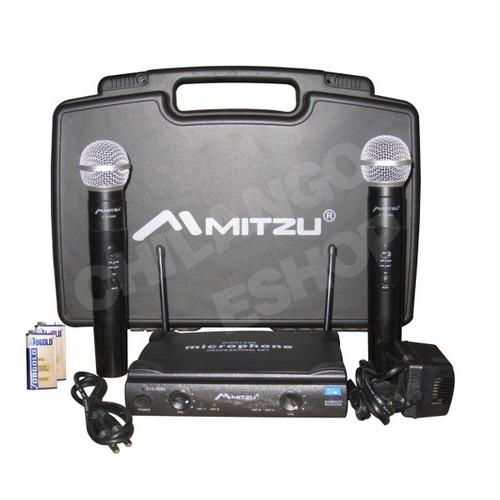 Set 2 Microfonos Inalambricos Con Receptor Uhf