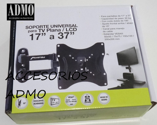 Soporte 3056 Brazo Movibl Pantalla Tv Plasma Lcd Led 17 A 37